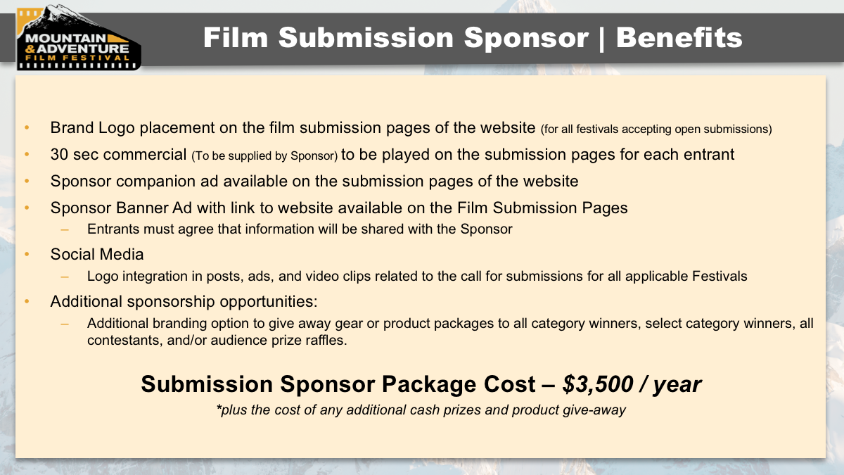 MAFF 2017 Partnership Opportunities Film Submission Sponsorship