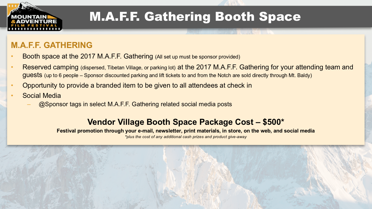 MAFF Gathering 2017 Sponsorship Opportunities Booth Space